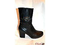 Ботинки женские высокие зимние на каблуке кожа замша Uk0116