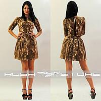 Леопардовое платье на молнии