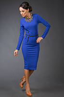 """Облегающее офисное миди-платье """"Morry"""" с колье и длинным рукавом (7 цветов)"""