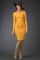 """Облегающее офисное платье по колено """"Emily"""" с баской и молнией на спине (6 цветов)"""
