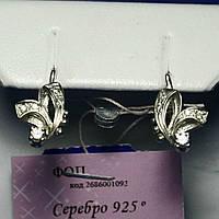Детские серьги серебро с фианитами, родированные сс 65
