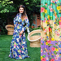 """Длинное атласное платье """"Семирамида"""" с цветочным принтом (большие размеры)"""