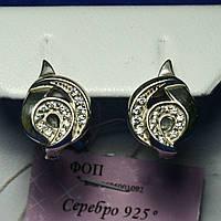 Женские серьги из серебра с камнями 925 пробы сс 169