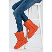 Яркие оранжевые женские угги с прошивкой