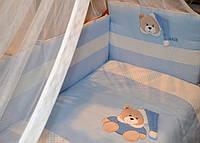 Комплект детского постельного белья из сатина, вышивка с элементами 3D.