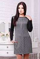 Платье IR Клетка-рукав; цвета: чёрный | синий,