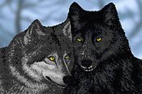 """Схема на ткани для вышивания бисером """"Волки"""" (серия Элит)."""