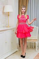 """Нарядное летнее платье """"Кэти"""" с гипюровым верхом и стразами на поясе (6 цветов)"""