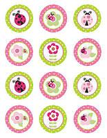 """Картинки для кап-кейков """"Салатово-розовые"""" А4 (код 01262)"""