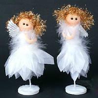 Новогоднее украшение из ткани и пуха Ангел на подставке, 15см
