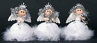 Елочное украшение из ткани с пухом Ангел 11 см