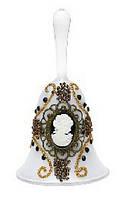 Колокольчик из стекла с камеей и бисером, 12см