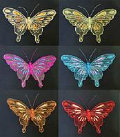 Набор (2) декоративных бабочек с клипсой, 21см