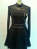 Короткое платье длинный рукав Chanel черное с белым кантом