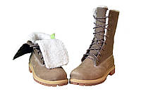 Ботинки женские Timberland Teddy Fleece China Brown (тимберленд, оригинал) на меху коричневые