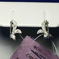 Маленькие серебряные серьги для девочек с цирконом сса 283