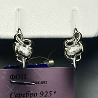 Ювелирные сережки серебро с камнями 925 пробы сс 334