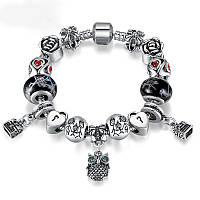 Женский серебряный браслет Pandora (Пандора) с подвесками муранского стекла и совой 2