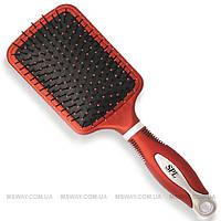 SPL Расческа 54124 (массажка) квадратная пластик, красная