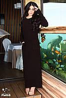 Х7056 Платье ангора в рубчик длинное