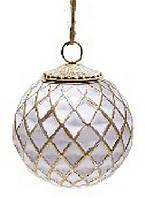 Елочный шар 8 см, патинированное золото