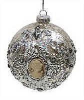 Елочный шар - античное серебро с камеями, 8 см