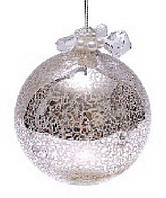 Елочный шар - античное серебро с декором из бусин