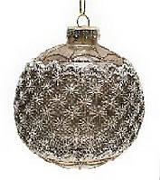 Елочный шар 8см шампань с кружевом