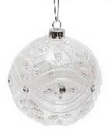 Елочный шар 10см прозрачный с кристаллами