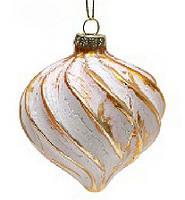 Елочное украшение 8см золото с белым волна