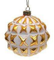 Елочный шар 8см золото с белым