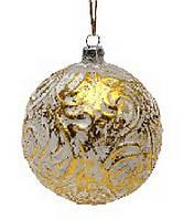 Елочный шар 10см золото с белым
