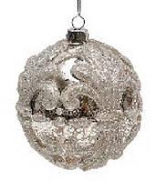 Елочный шар 10см серебро антик