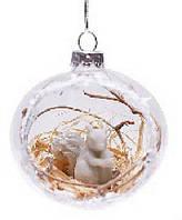 Елочный шар 7,4см прозрачный с фигуркой белочка