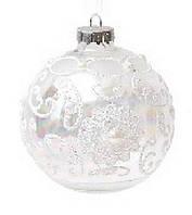 Елочный шар - прозрачный с кружевом и кристаллами