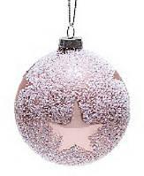 Елочный шар 8см с присыпкой розовый Звезда