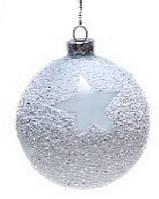 Елочный шар 8см с присыпкой голубой Звезда