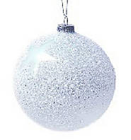 Елочный шар 10см с присыпкой голубой Звезда