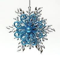Елочное украшение Снежинка 12x10,5x3см, цвет - серебро с синим