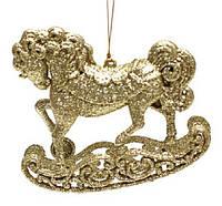 Елочная подвеска Лошадь, 10x10см, цвет - золото