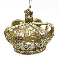 Елочное украшение Корона, 8x7см, цвет - золото