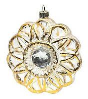 Елочная игрушка в форме цветка с кристаллом, 10см