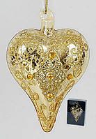 Елочная игрушка в форме сердца с орнаментом и кристаллами, 9см