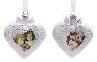 Елочное украшение в форме сердца с рисунком, 2 асс