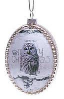 Елочное украшение в форме овала с рисунком