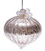 Елочное украшение - луковица, античное серебро с декором из бусин