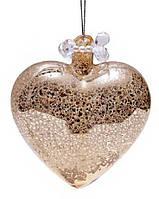 Елочное украшение - сердце, античное золото с декором из бусин