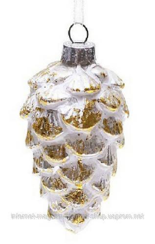 Елочное украшение - шишка, патинированное золото