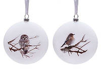 Елочное украшение в виде диска с рисунокм - птички