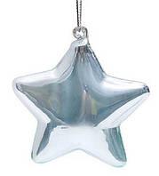 Елочное украшение 8см Звезда голубая